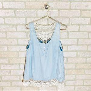 Entro Blue Sleeveless Lace Trim Top